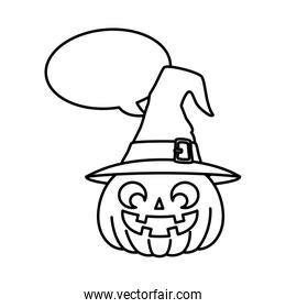 halloween pumpkin with hat witch and speech bubble