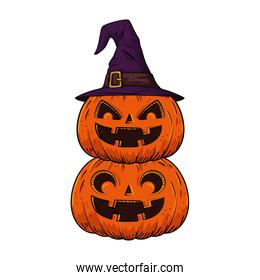 halloween pumpkins with hat witch pop art style
