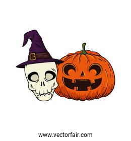 halloween pumpkin and skull with hat witch pop art style
