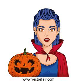 young woman disguised of vampire with pumpkin style pop art
