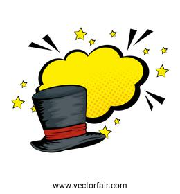 hat top wizard with cloud style pop art