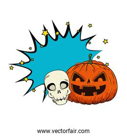 halloween pumpkin with skull pop art style