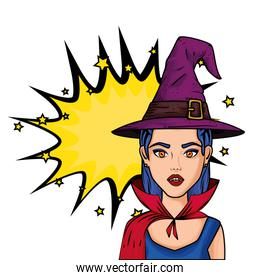 young woman disguised of vampire with hat witch style pop art