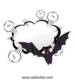 bat flying halloween with cloud style pop art