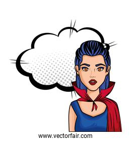 young woman disguised of vampire with cloud style pop art