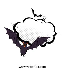 bats flying halloween with cloud style pop art
