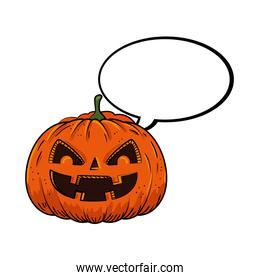 halloween pumpkin with speech bubble pop art style