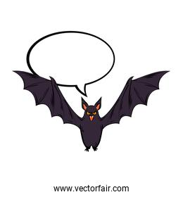 bat flying halloween with balloon text style pop art
