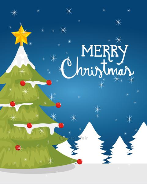 merry christmas poster with pine tree in winter landscape