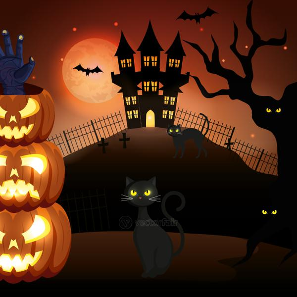 cats with pumpkins and haunted castle in halloween scene