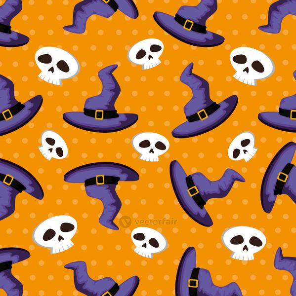 pattern halloween of hats witch and skulls