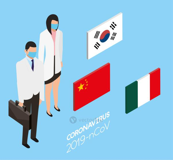professional doctors using face masks with country flags