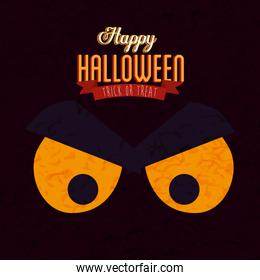 poster of happy halloween with face cat black