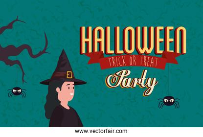 poster of party halloween with woman disguised of witch