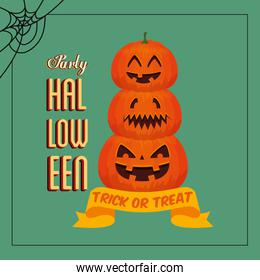 poster of party halloween with pumpkins