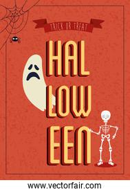 poster of halloween with ghost with skeleton