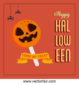 poster of happy halloween with candy and spiders