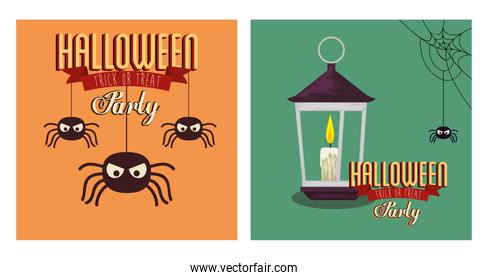 set of poster halloween with spiders and lamp