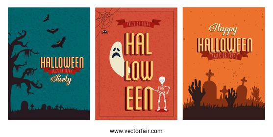 set of poster halloween with decoration