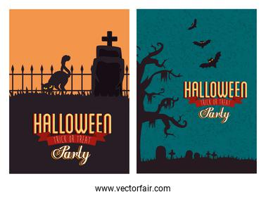 set poster of party halloween with decoration