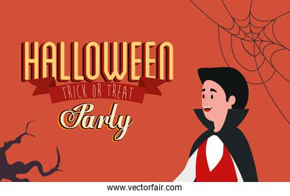 poster of party halloween with young man disguised of vampire