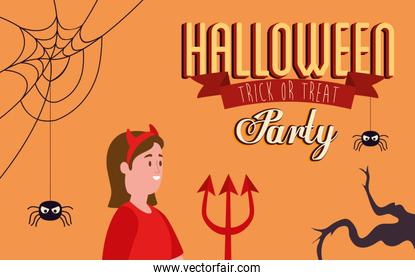 poster of party halloween with woman disguised of devil