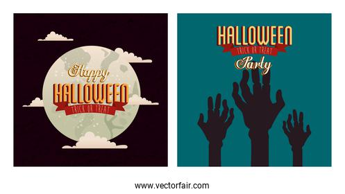 set of poster halloween with hands zombie and moon