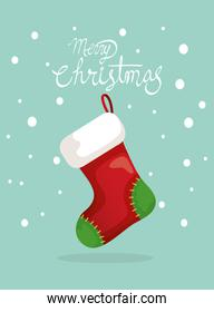 merry christmas poster with sock hanging