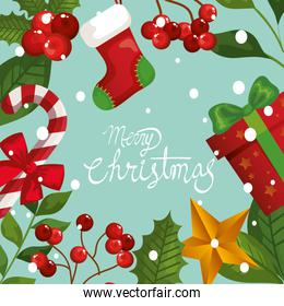 merry christmas poster with frame of leafs and decoration