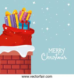 merry christmas poster with gift boxes and bags presents in chimney