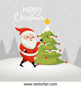 merry christmas poster with santa claus and pine tree
