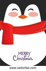merry christmas poster with cute penguin