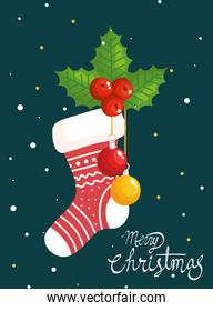 merry christmas poster with sock and decoration
