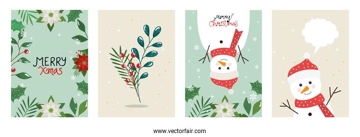 set poster of merry christmas with leafs and snowmen