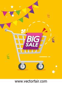 commercial label with big sale offer lettering and cart shopping