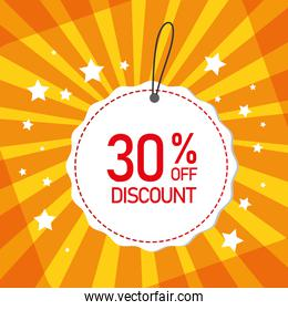 commercial label with thirty percent discount