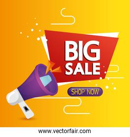 commercial label with big sale offer lettering and megaphone