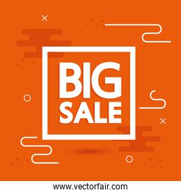 commercial label with big sale offer lettering