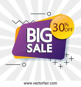 commercial label with big sale offer lettering and thirty percent discount
