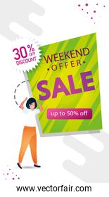 woman and commercial label sale weekend offer lettering