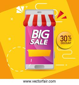commercial label with big sale offer lettering and thirty percent discount in smartphone
