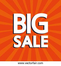 commercial label with big sale lettering