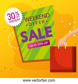commercial label sale weekend offer lettering with thirty and fifty percentage discount