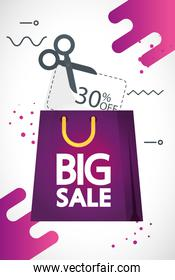 commercial label with big sale offer lettering in bag shopping and thirty percent discount