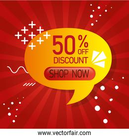 commercial label with fifty percent discount in speech bubble