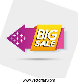 commercial label with big sale offer lettering and arrow
