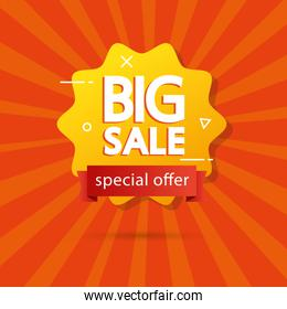 commercial label with big sale offer lettering in seal