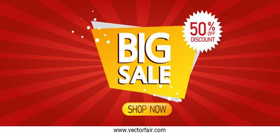 commercial label with big sale lettering and fifty percent discount