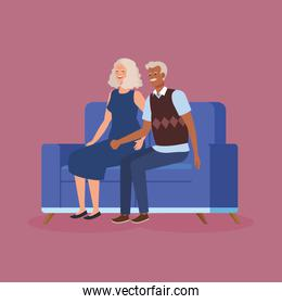 grandparents couple sitting in sofa avatar character