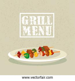 grill menu with delicious brochette in dish